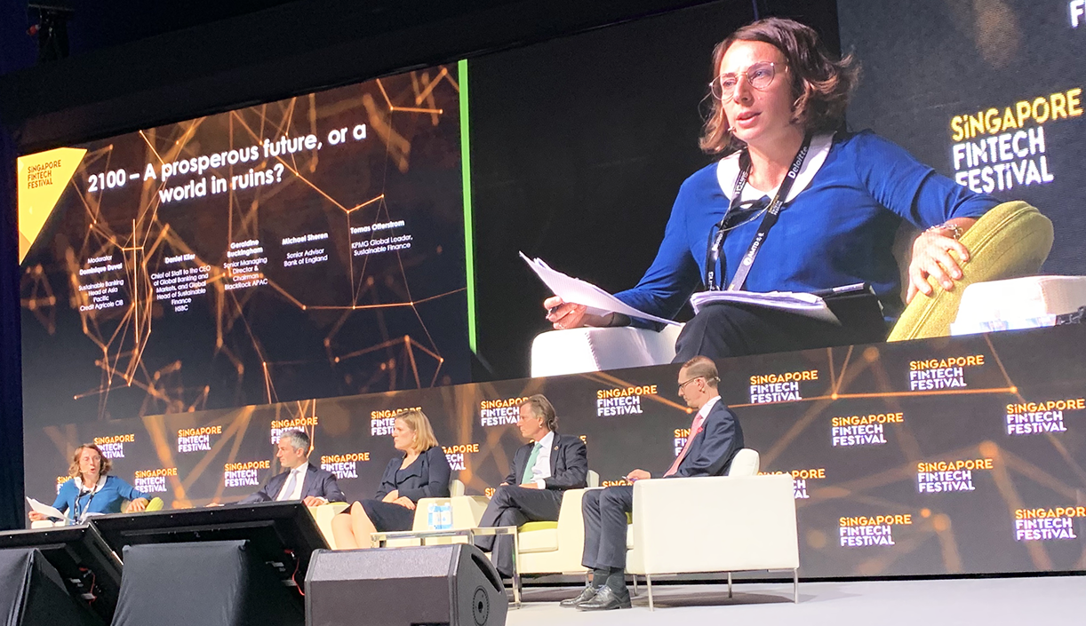 Picture of Dominique Duval, Head of Sustainable Banking for Asia Pacific, on the panel at the Singapore Fintech Festival