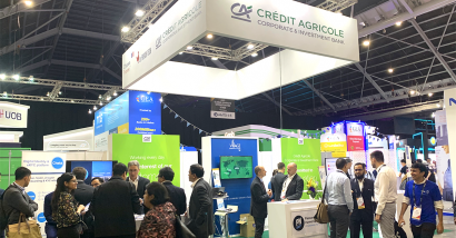 Picture of the Crédit Agricole CIB's booth at the Singapore Fintech Festival