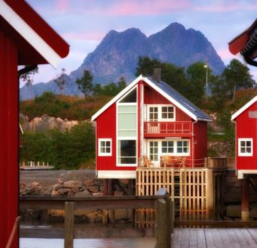 Harbor houses in Svovlvaer, Lofoten